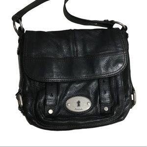 Fossil Black Leather Shoulder Bag Adjustable Strap